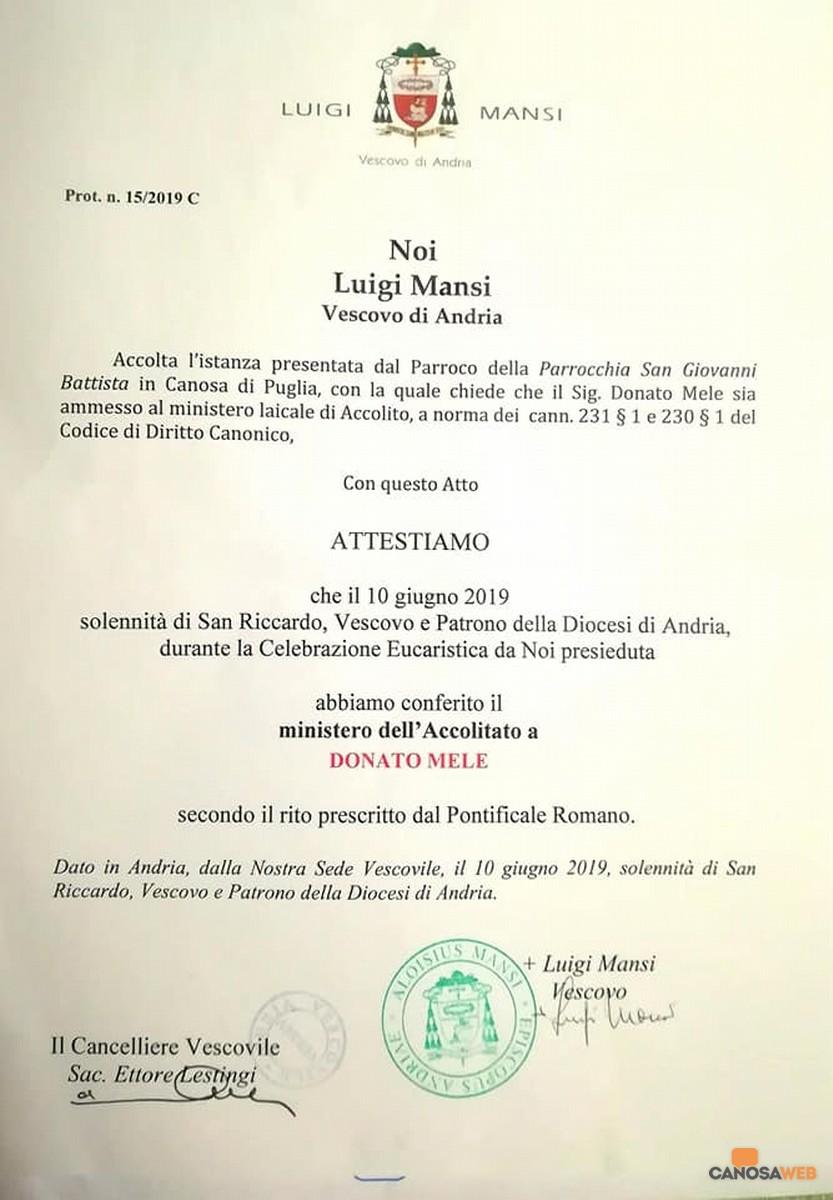 Un nuovo accolito: Donato Mele
