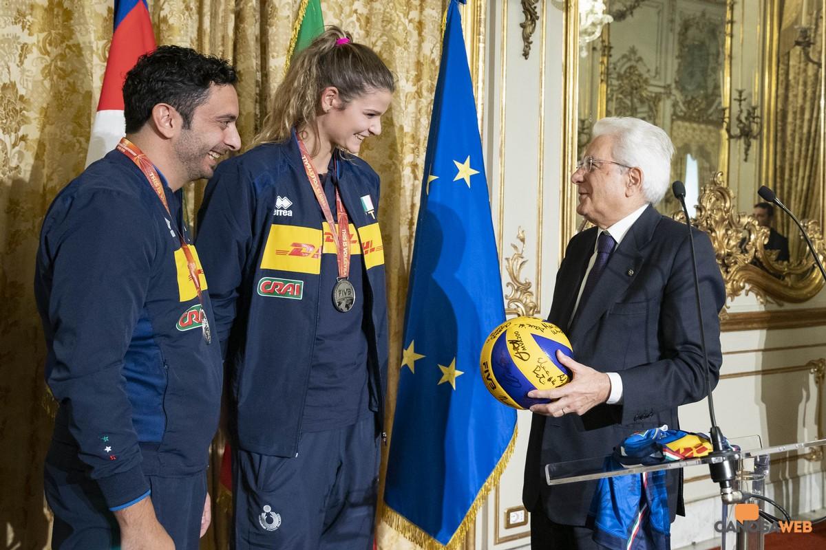 Il Presidente Sergio Mattarella,Cristina Chirichella e Davide Mazzanti