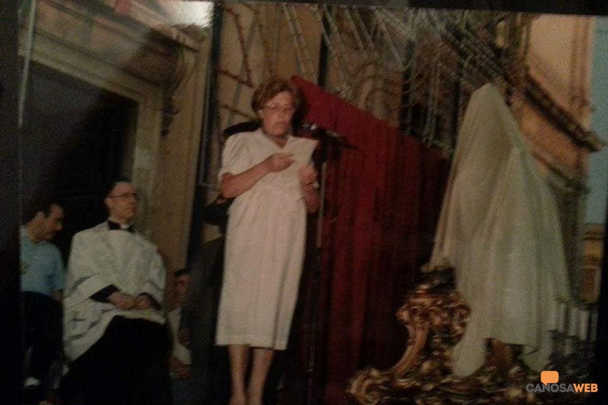 Canosa, 22/07/1985:  Imma Azzellino all'inaugurazione del busto di San Sabino