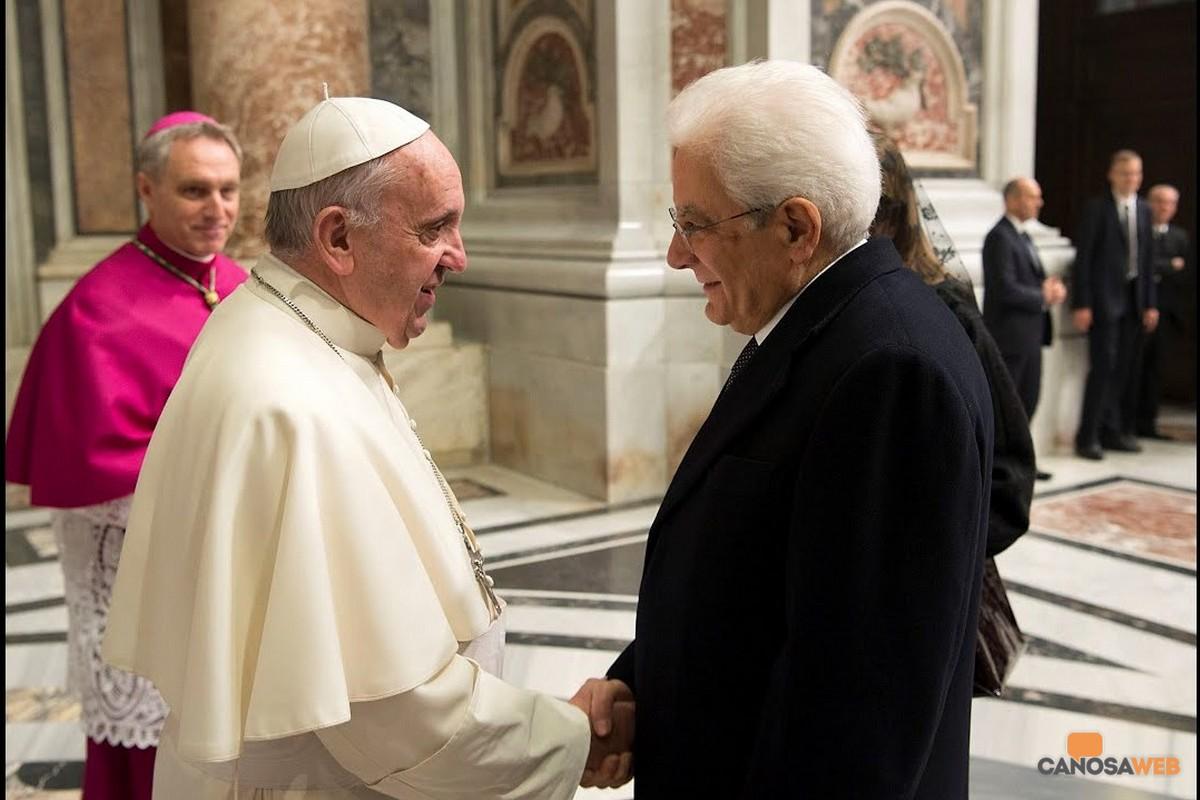 Papa Francesco e il presidente della Repubblica Sergio Mattarella