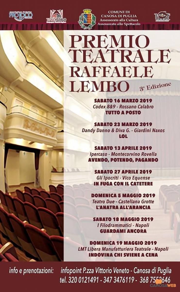 """Terza Edizione del Premio Teatrale """"Raffaele Lembo"""" Canosa di Puglia"""