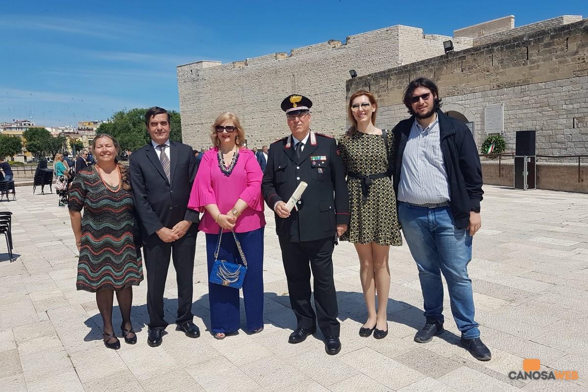 Prefetto Sensi, Savino Silecchia, Comandante  Carabinieri Canosa e familiari