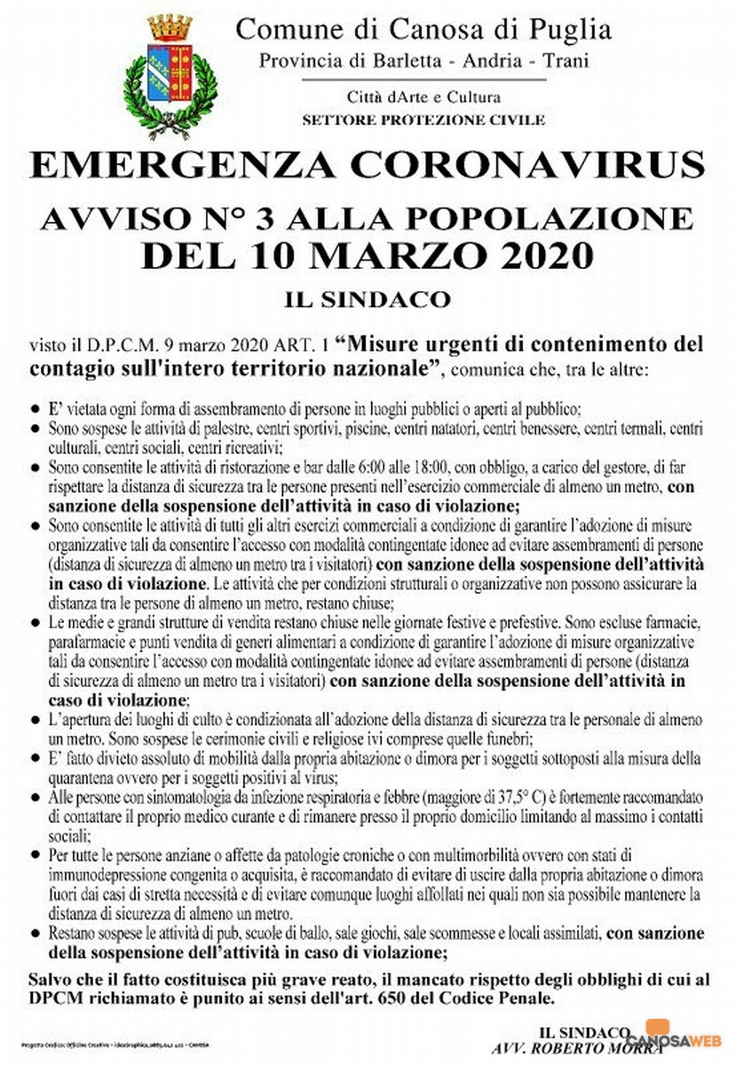 10 marzo 2020 Avviso n.3 Comune di Canosa di Puglia
