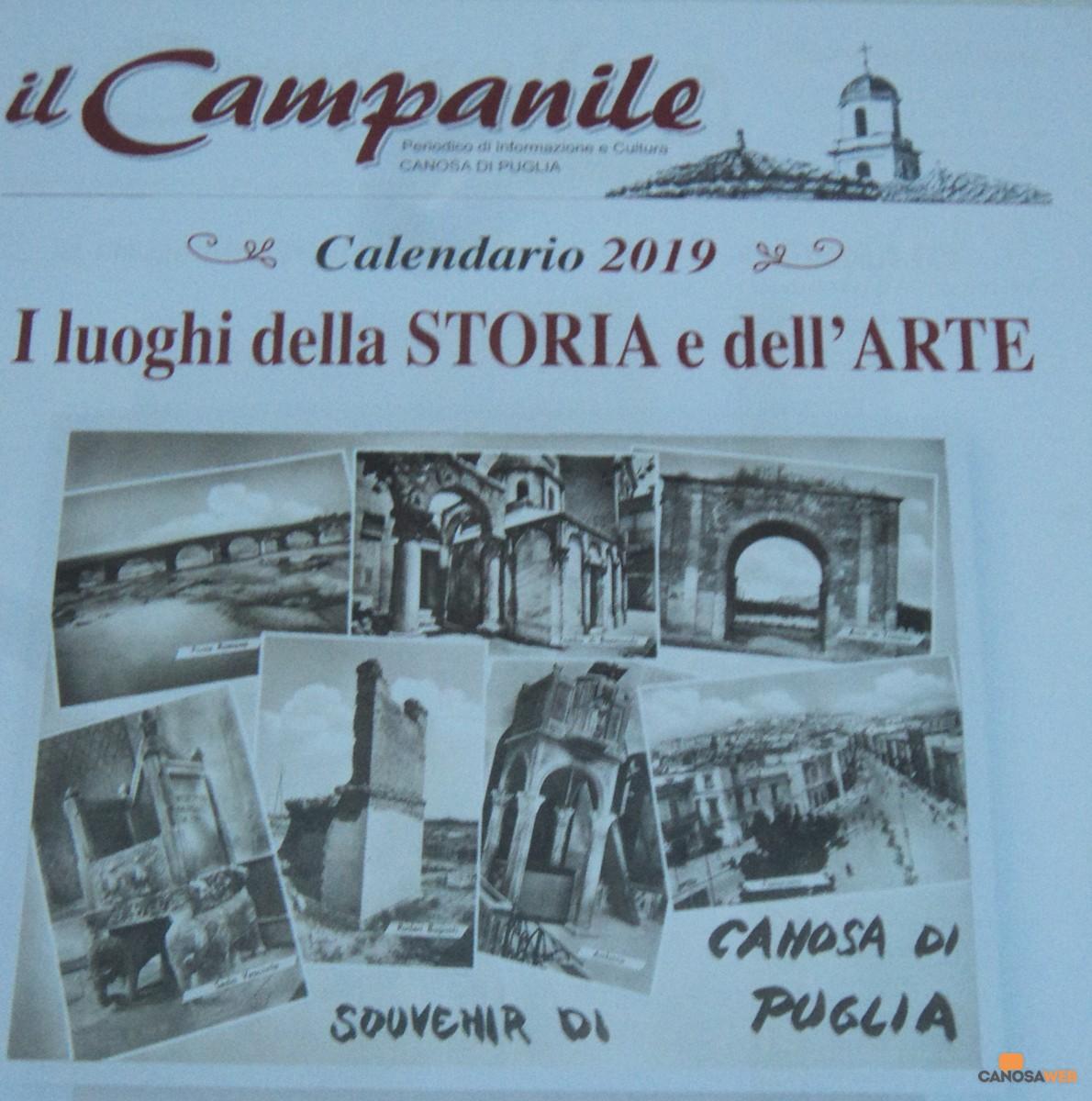 """Calendario 2019  """"I luoghi della STORIA e dell'ARTE"""""""