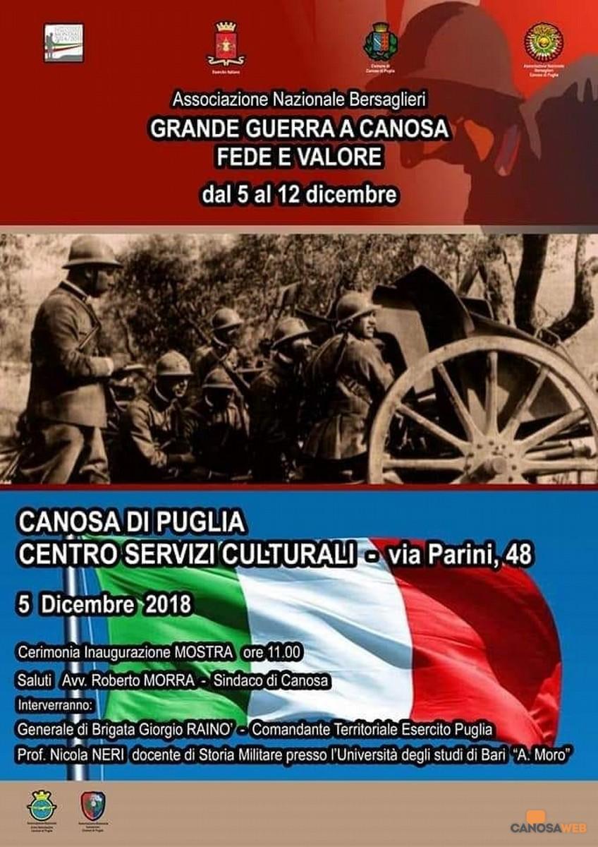 """Mostra Espositiva """"Centenario della Grande Guerra a Canosa. Fede e Valore"""""""