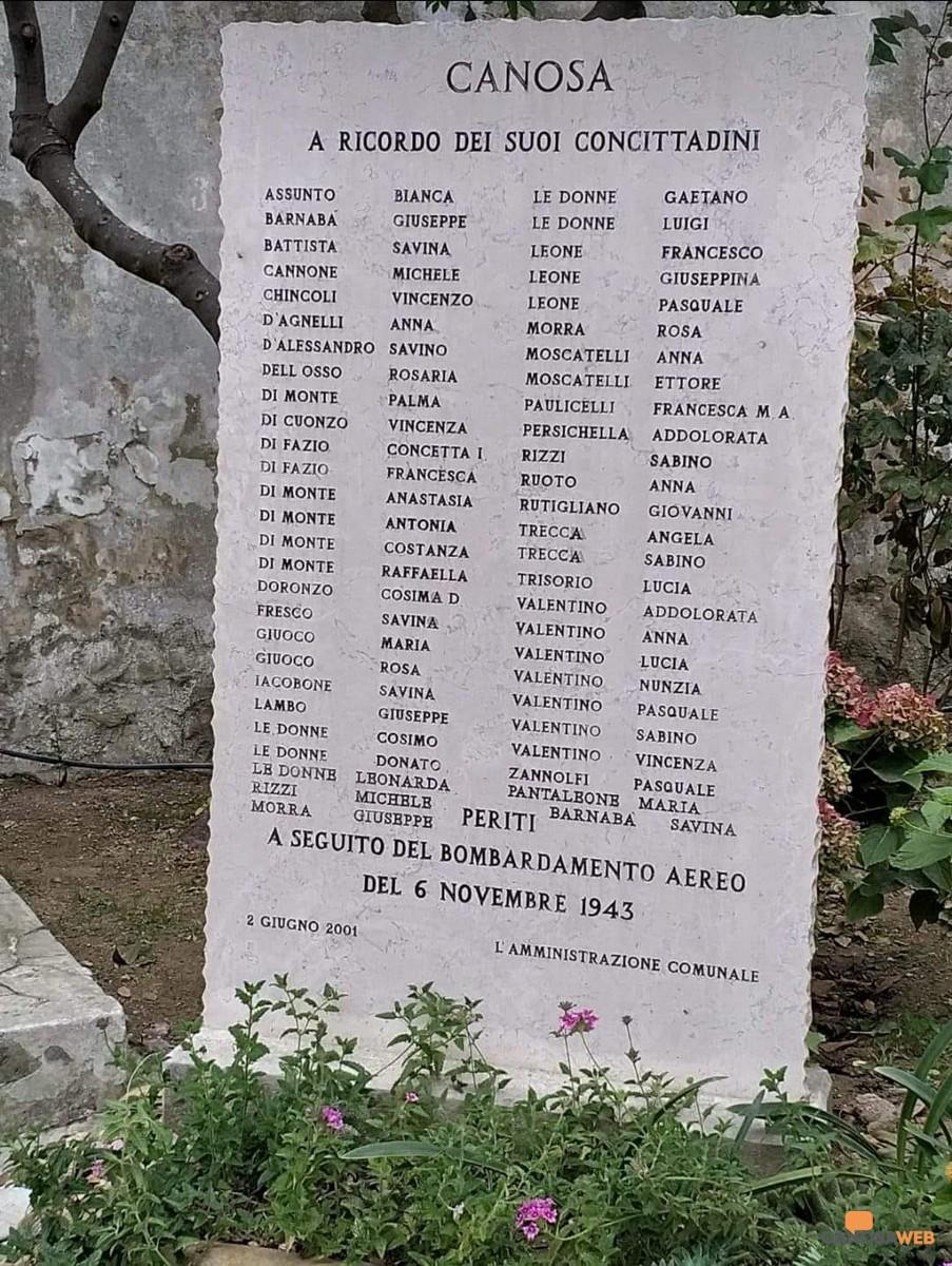 Canosa Nel ricordo  dei caduti del bombardamento del 6 novembre 1943
