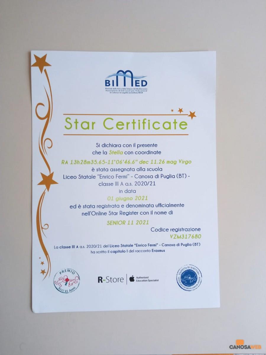 """Liceo """"Enrico Fermi"""" di Canosa Insignito dello """"STAR Certificate""""  dalla  Bimed"""