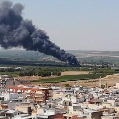 Canosa : Incendio presso autodemolitore