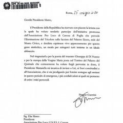 Lettera Consigliere Direttore Ufficio Segreteria Presidente della Repubblica