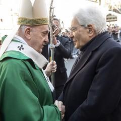 2020 Bari Papa Francesco e il presidente della Repubblica, Sergio Mattarella