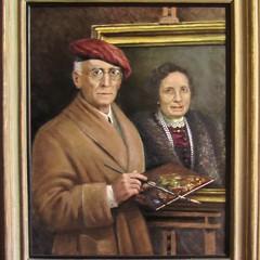 Autoritratto di Matteo Barboni mentre dipinge sua moglie