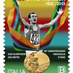 Francobollo  dei 40 anni dall'oro olimpico a Mosca di Pietro Mennea