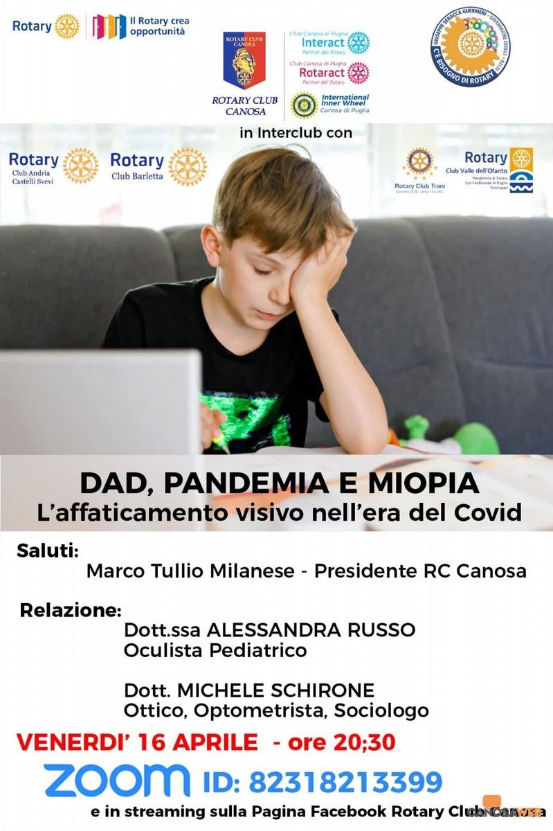 """""""DAD, pandemia e miopia."""" Conferenza Rotary Club Canosa"""