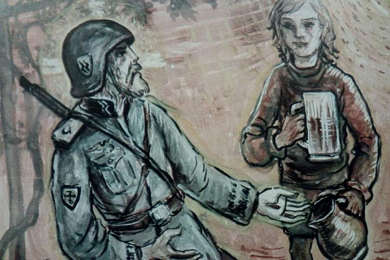 Issogne:Partigiano e soldato nazista