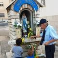 Canosa:  Due rose gialle alla Madonnina di Lourdes